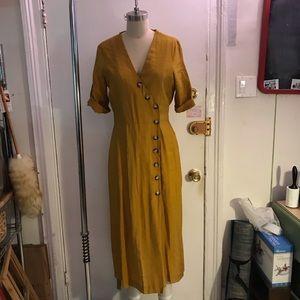 Zara Mustard Gold Midi Dress size Medium